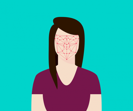 Diagram depicting how facial recognition software works