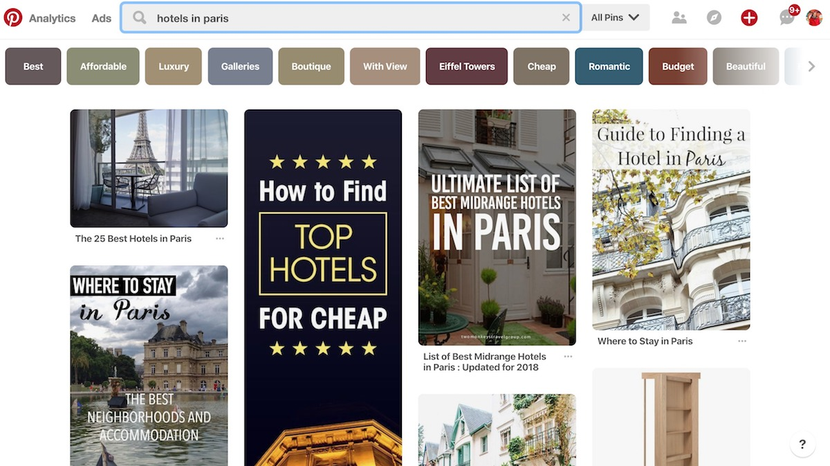 Pinterest Paris search