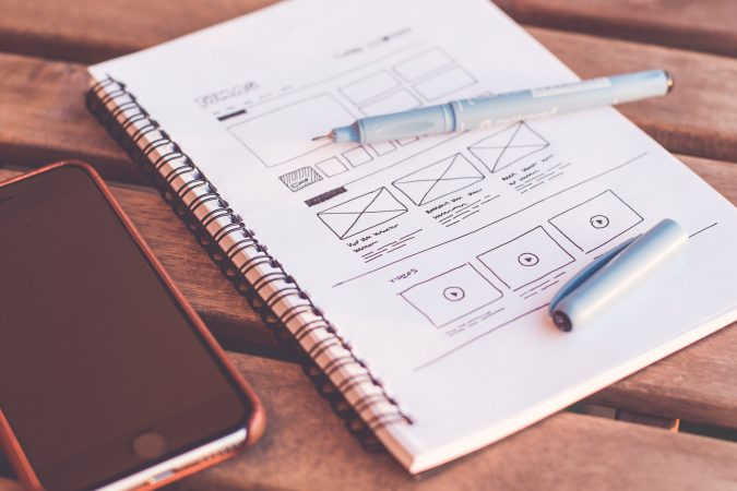 wireframe and phone